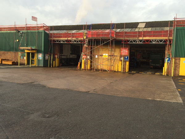 work on a travis perkins scaffolding project in Birmingham West Midlands